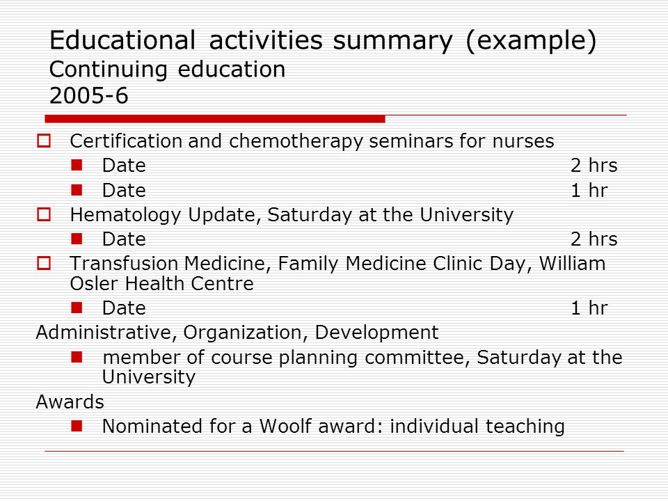 Educational activities summary (example) Continuing education 2005-6