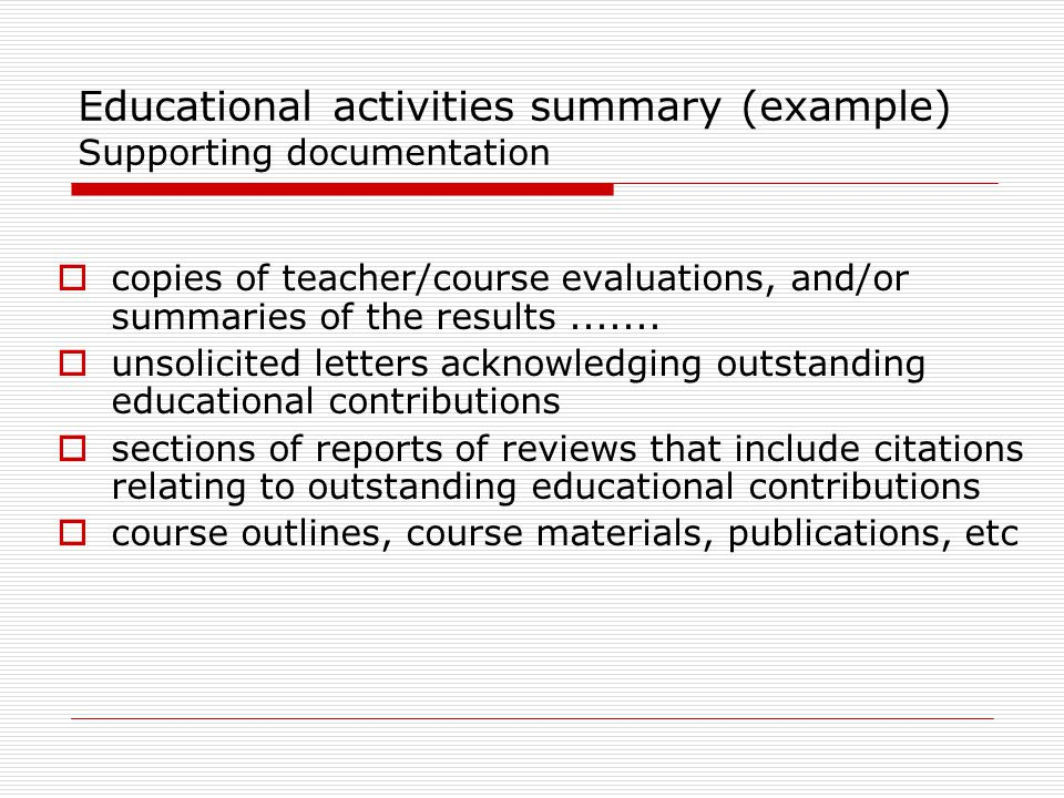 Educational activities summary (example) Supporting documentation