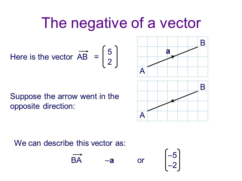 The negative of a vector