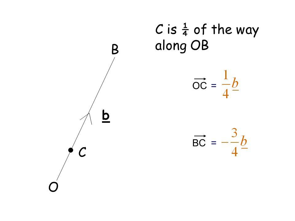 C is ¼ of the way along OB B OC = b BC = C O