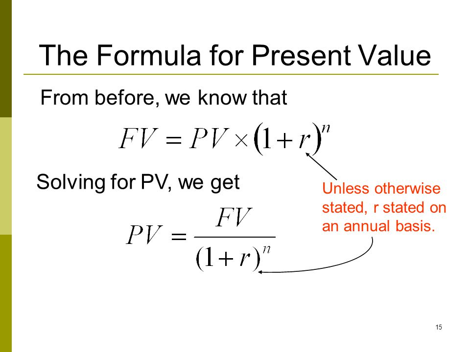 The Formula for Present Value
