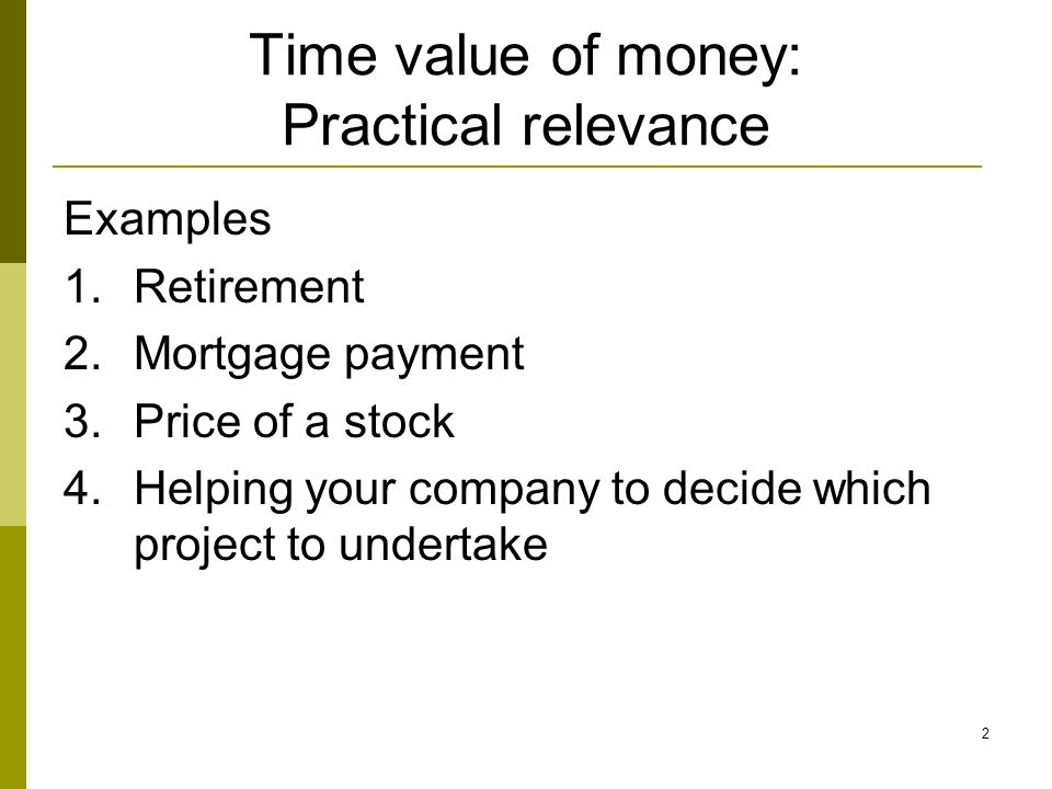 Time value of money: Practical relevance