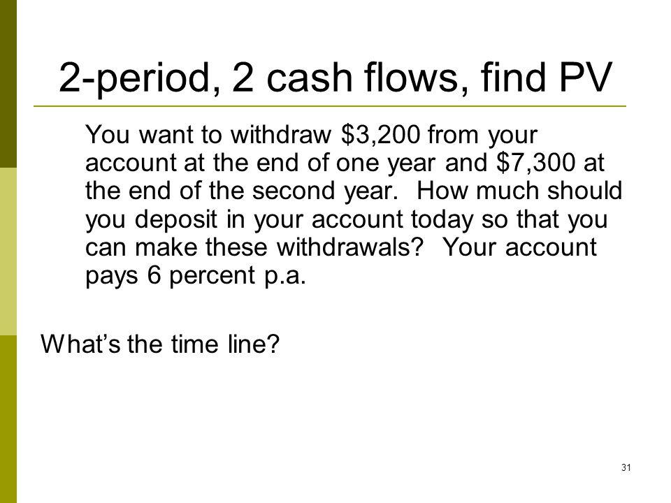 2-period, 2 cash flows, find PV