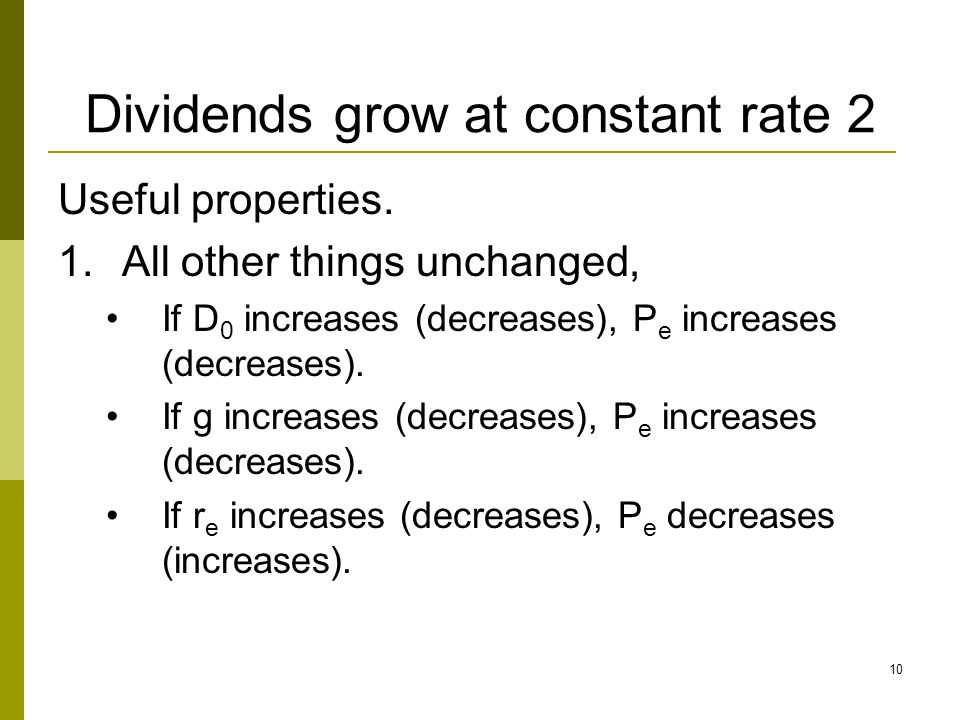 Dividends grow at constant rate 2