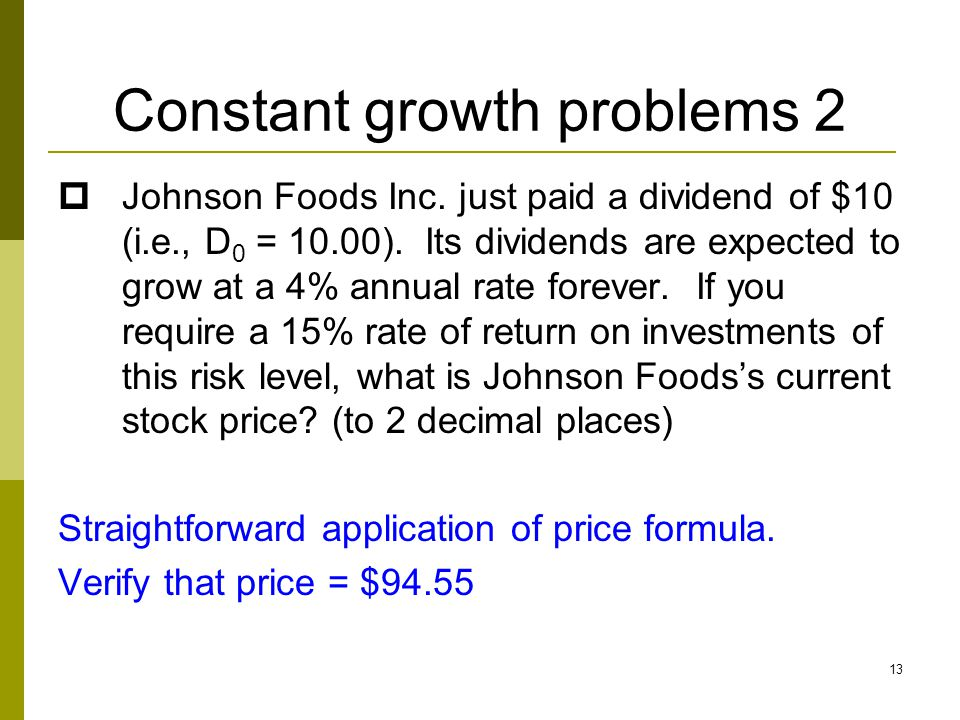 Constant growth problems 2