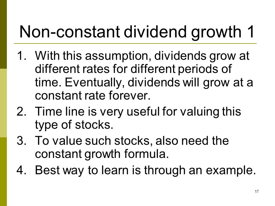 Non-constant dividend growth 1