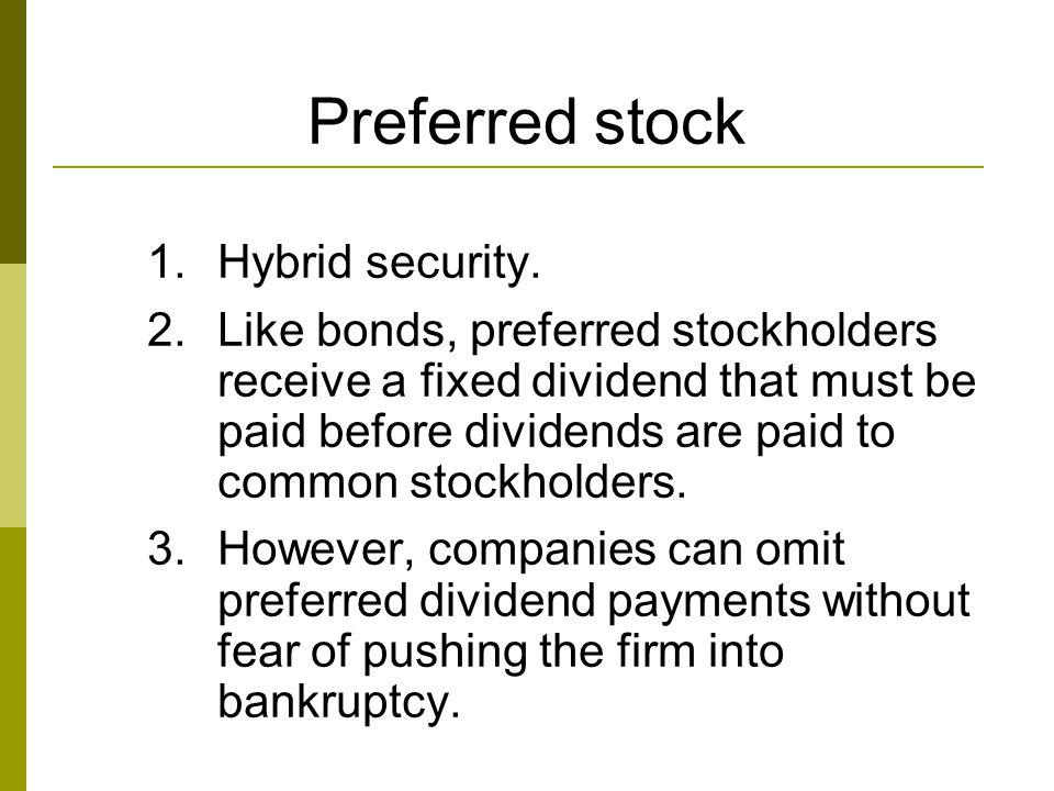 Preferred stock Hybrid security.