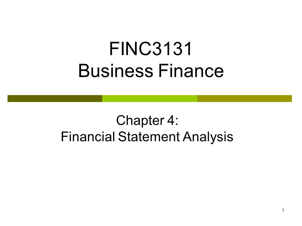 Chapter 4: Financial Statement Analysis