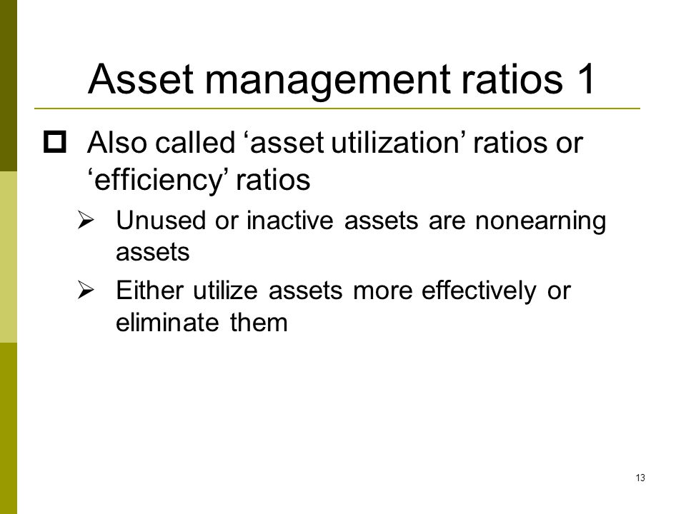Asset management ratios 1