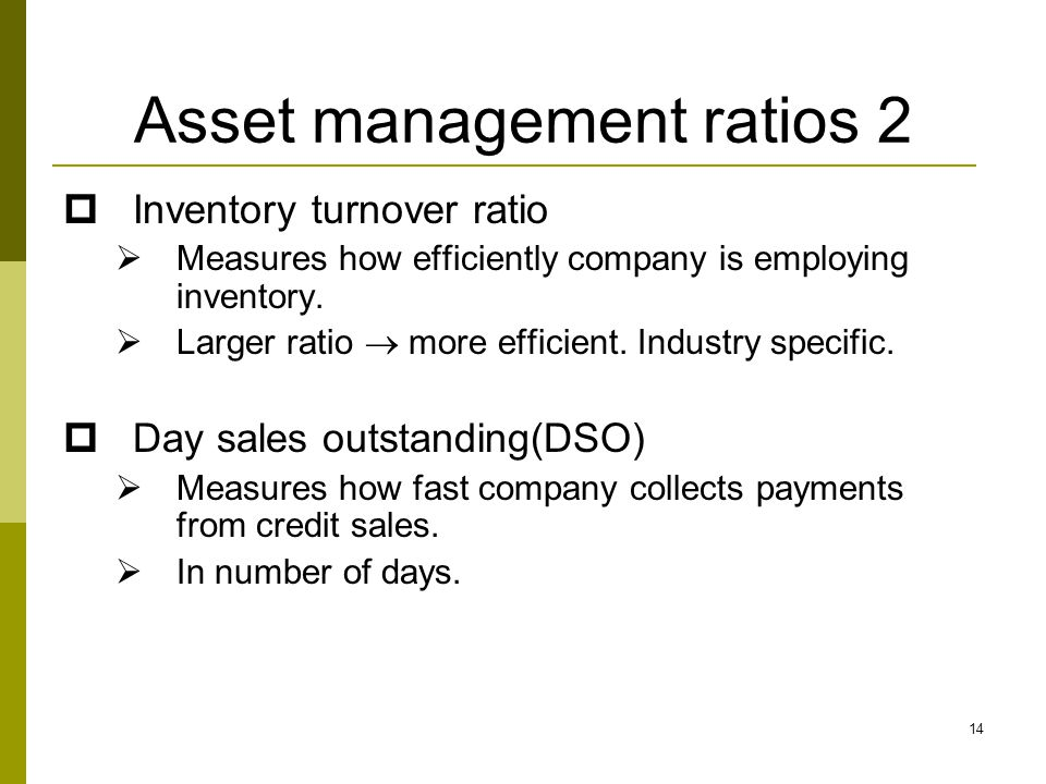 Asset management ratios 2