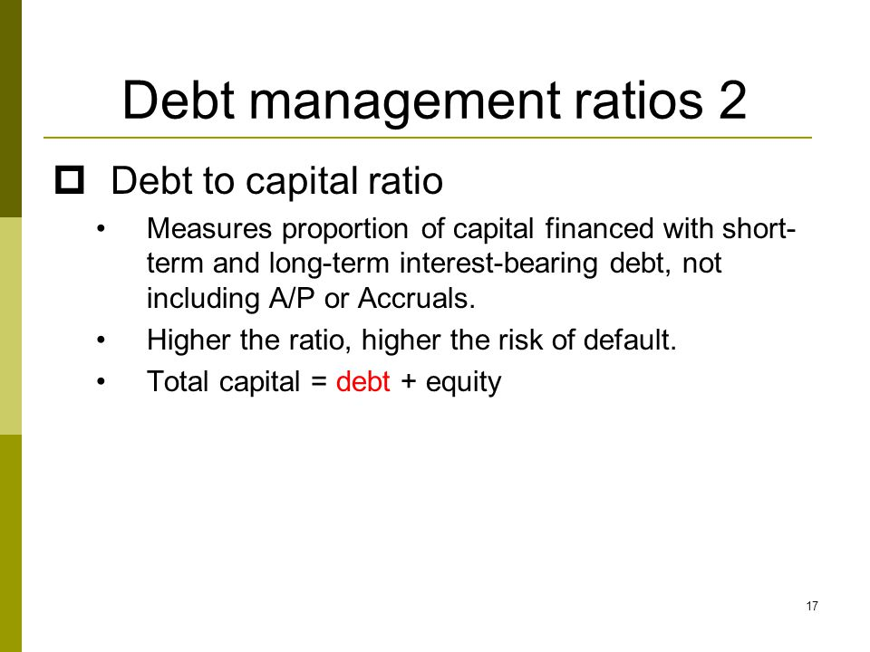 Debt management ratios 2