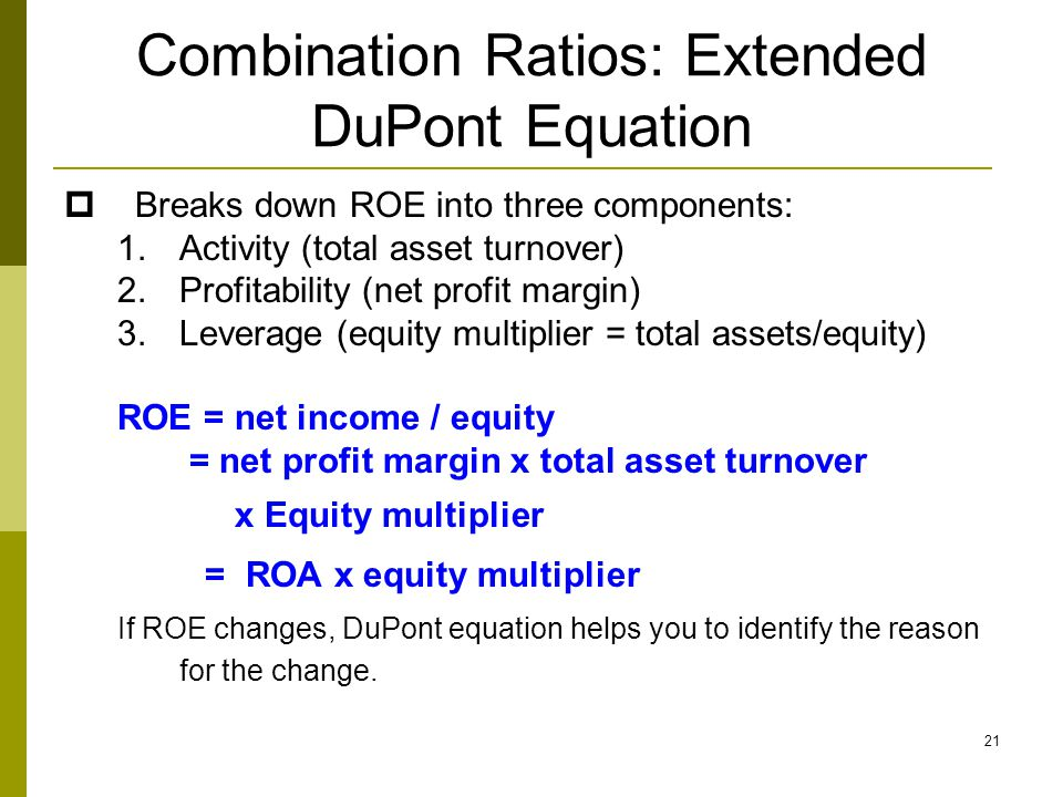 Combination Ratios: Extended DuPont Equation
