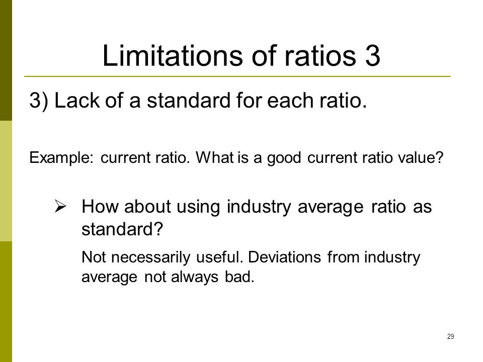 Limitations of ratios 3 3) Lack of a standard for each ratio.