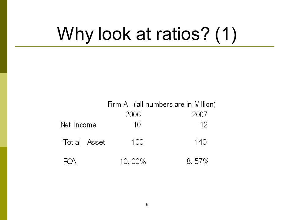 Why look at ratios (1)