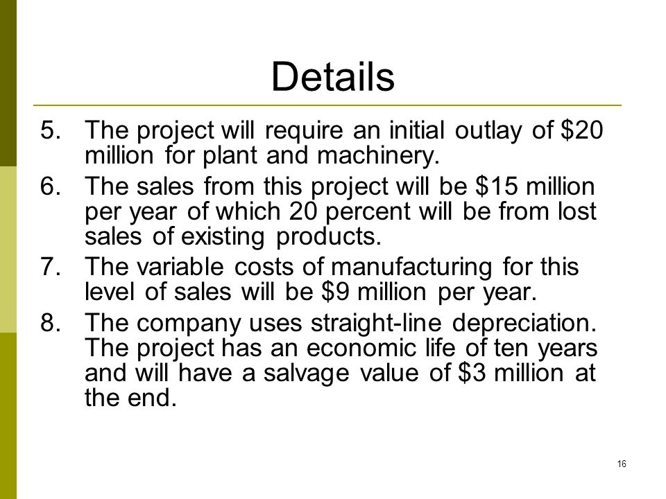 Details The project will require an initial outlay of $20 million for plant and machinery.