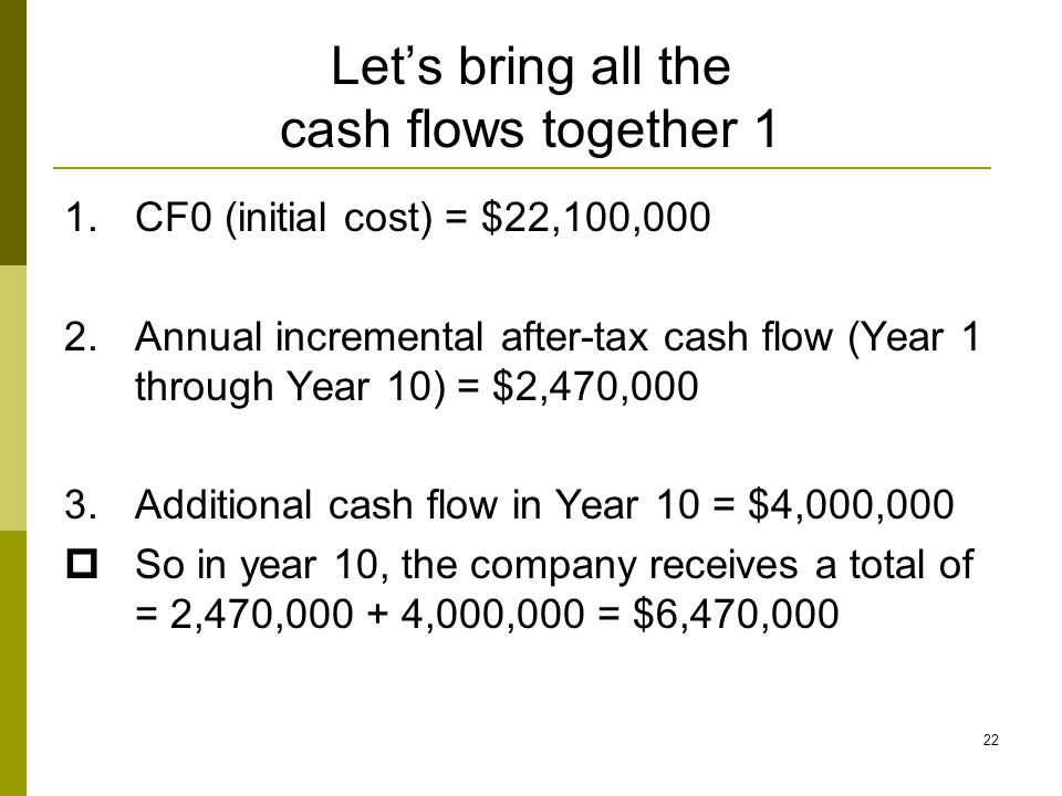 Let's bring all the cash flows together 1