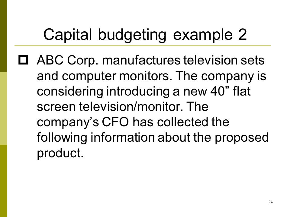 Capital budgeting example 2