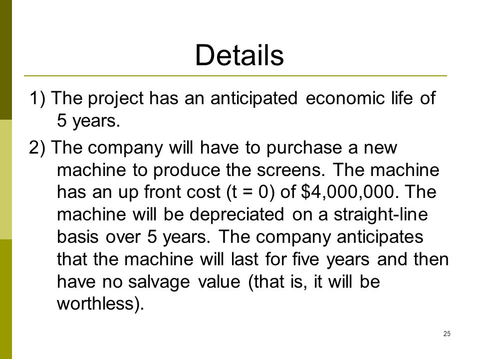 Details 1) The project has an anticipated economic life of 5 years.