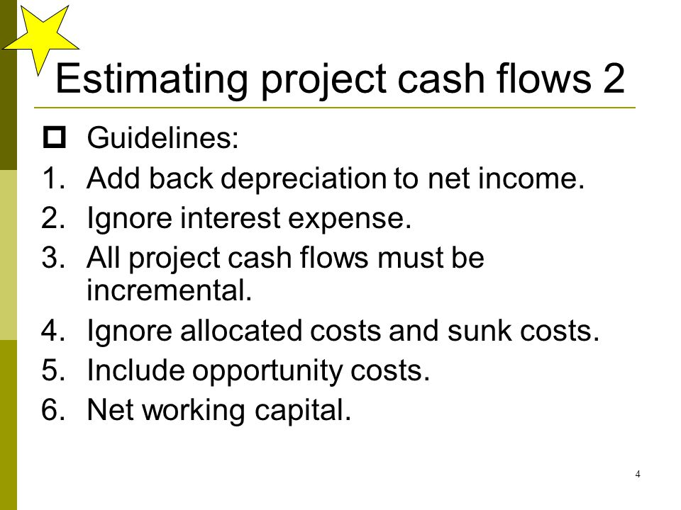 Estimating project cash flows 2