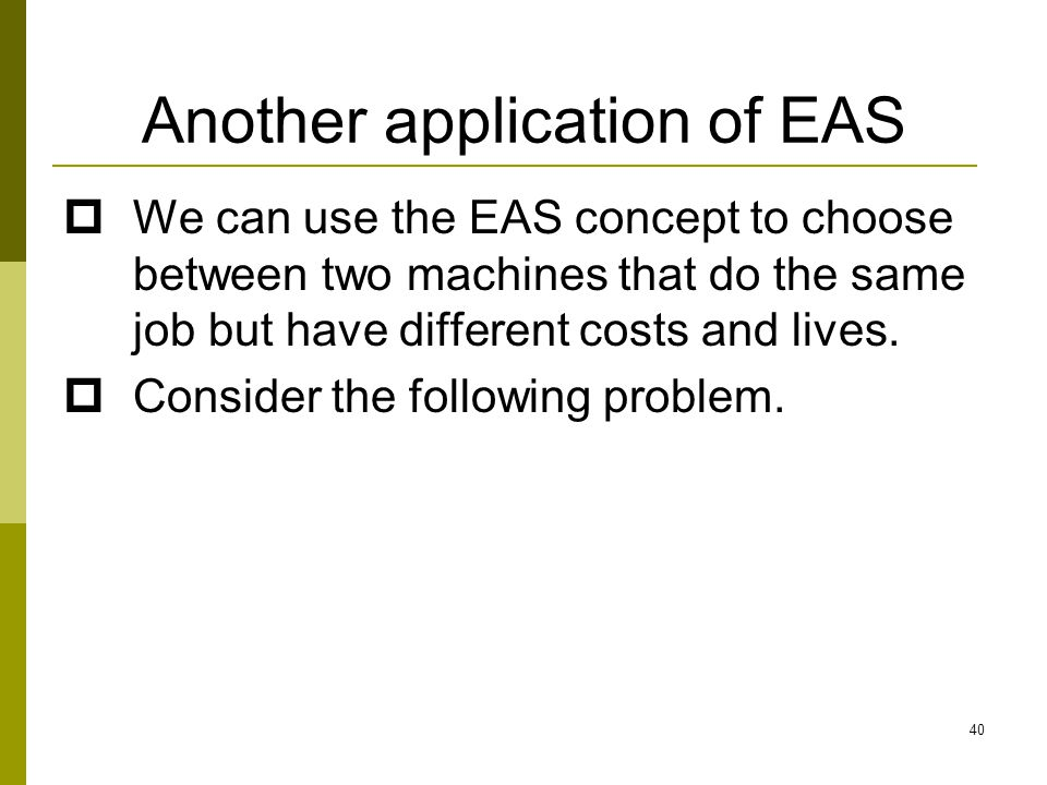 Another application of EAS