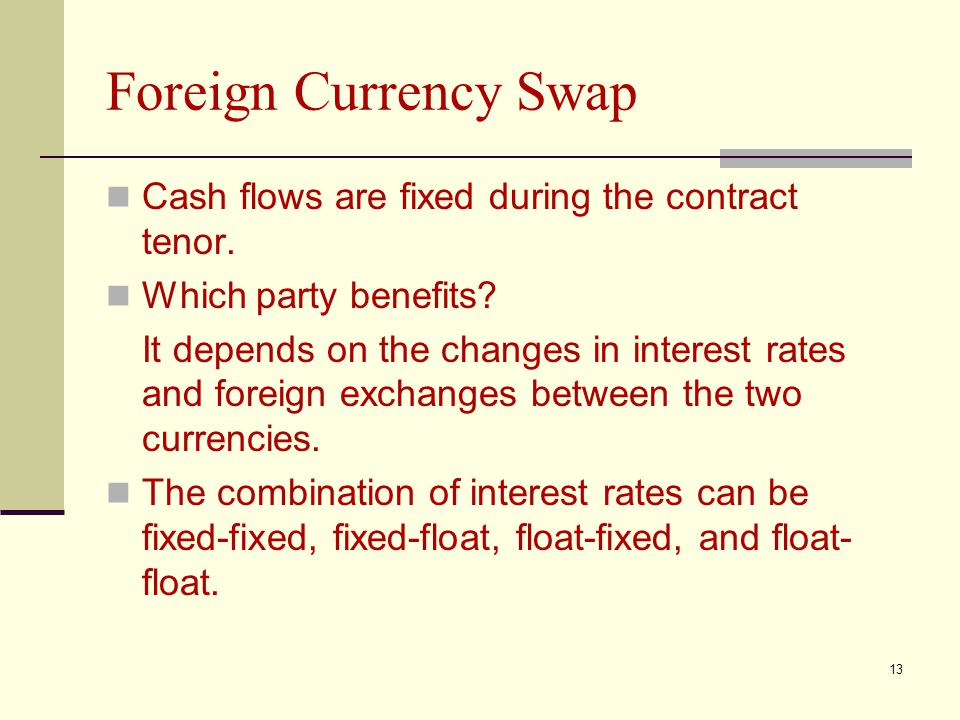 Foreign Currency Swap Cash flows are fixed during the contract tenor.