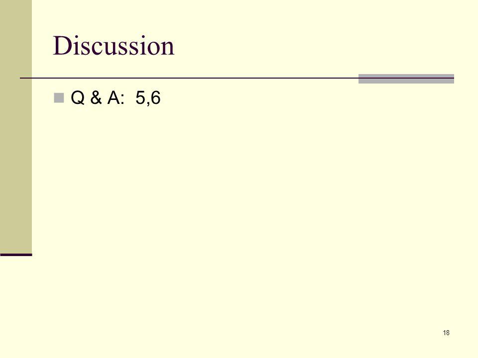 Discussion Q & A: 5,6