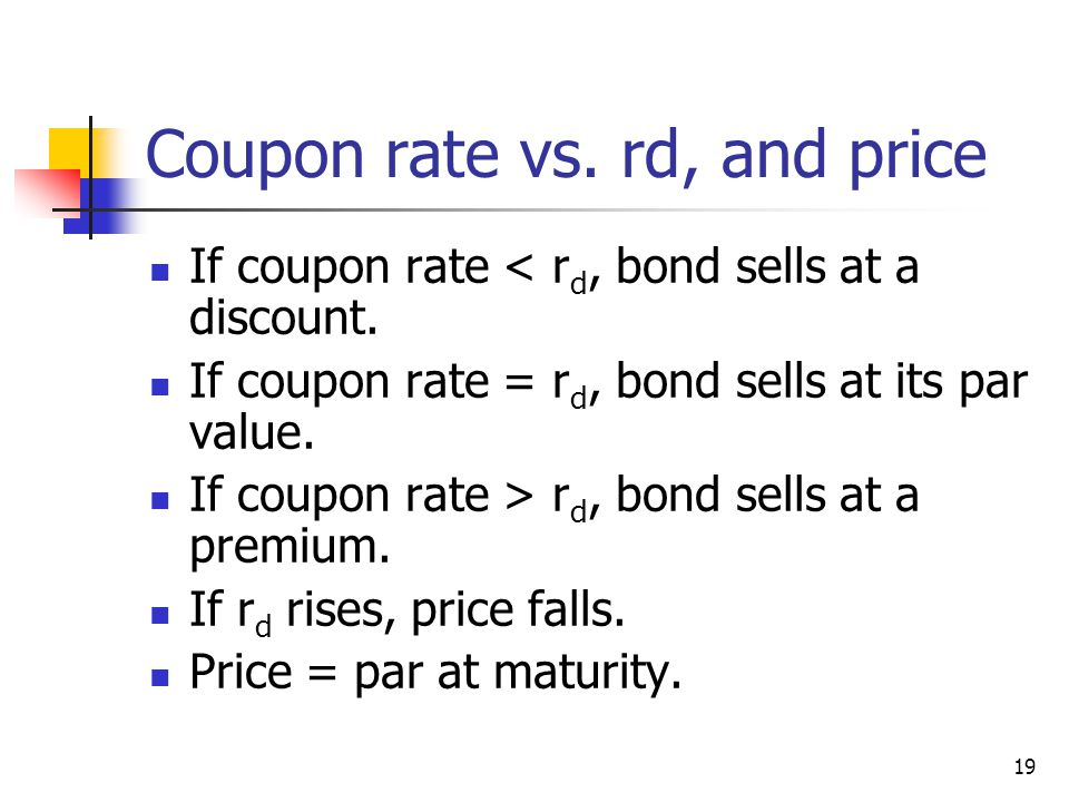 Coupon rate vs. rd, and price