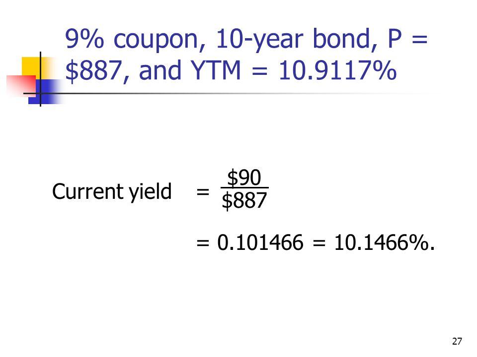 9% coupon, 10-year bond, P = $887, and YTM = 10.9117%