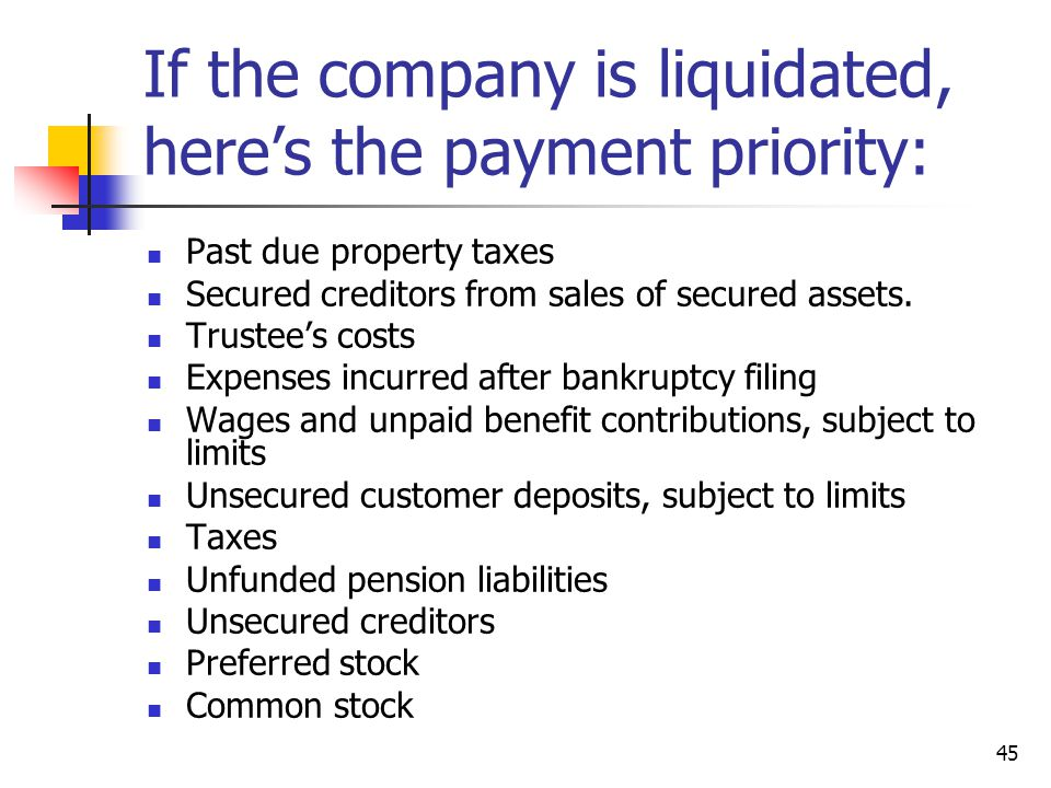 If the company is liquidated, here's the payment priority: