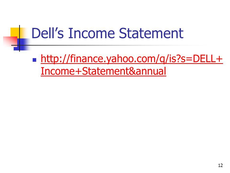 Dell's Income Statement