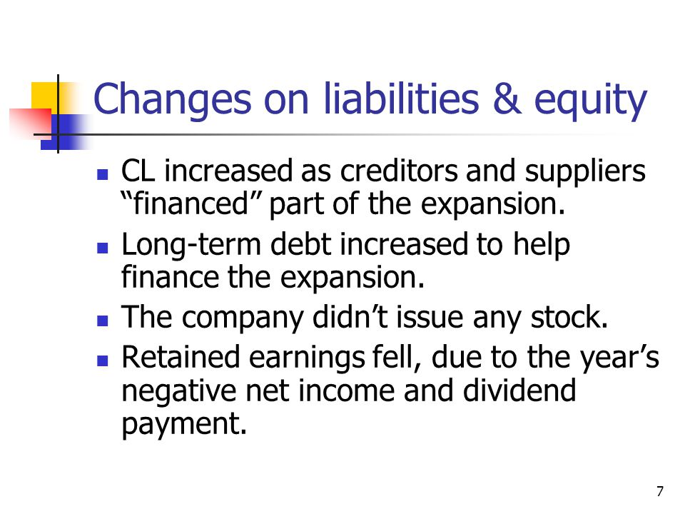 Changes on liabilities & equity