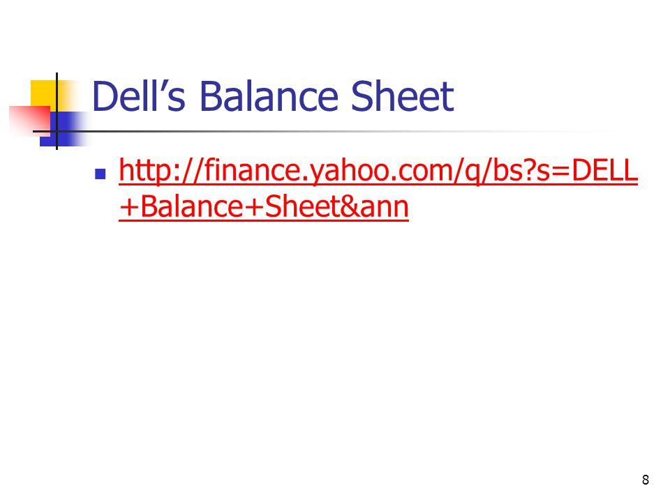 Dell's Balance Sheet http://finance.yahoo.com/q/bs s=DELL+Balance+Sheet&ann