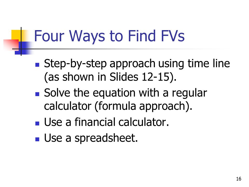 Four Ways to Find FVs Step-by-step approach using time line (as shown in Slides 12-15).