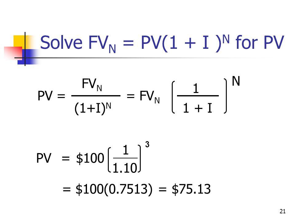 Solve FVN = PV(1 + I )N for PV