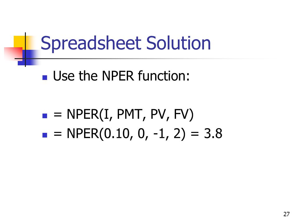 Spreadsheet Solution Use the NPER function: = NPER(I, PMT, PV, FV)