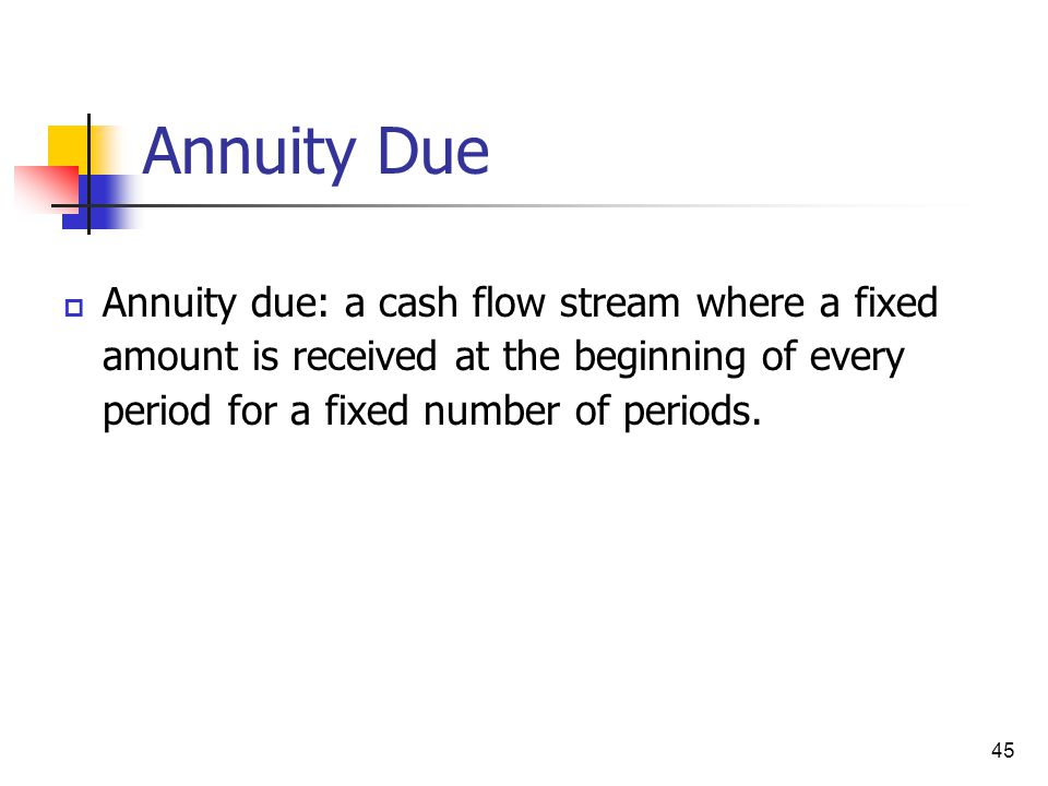 Annuity Due Annuity due: a cash flow stream where a fixed amount is received at the beginning of every period for a fixed number of periods.