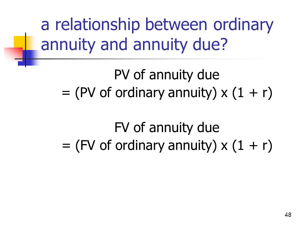 a relationship between ordinary annuity and annuity due