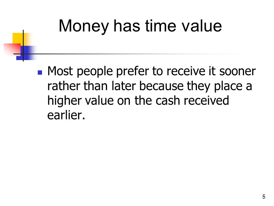 Money has time value Most people prefer to receive it sooner rather than later because they place a higher value on the cash received earlier.