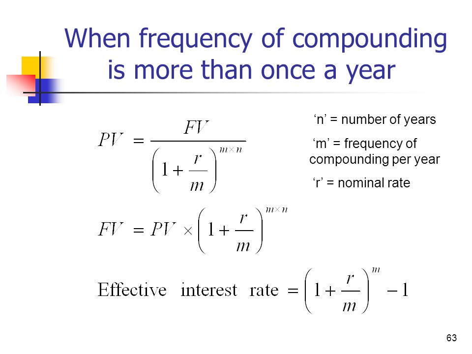 When frequency of compounding is more than once a year