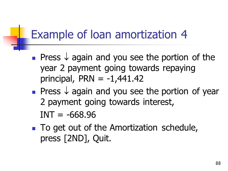 Example of loan amortization 4