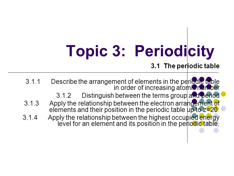 Topic 3: Periodicity 3.1 The periodic table