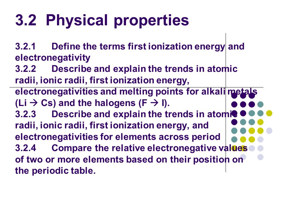 3.2 Physical properties 3.2.1 Define the terms first ionization energy and electronegativity 3.2.2 Describe and explain the trends in atomic radii, ionic radii, first ionization energy, electronegativities and melting points for alkali metals (Li  Cs) and the halogens (F  I).