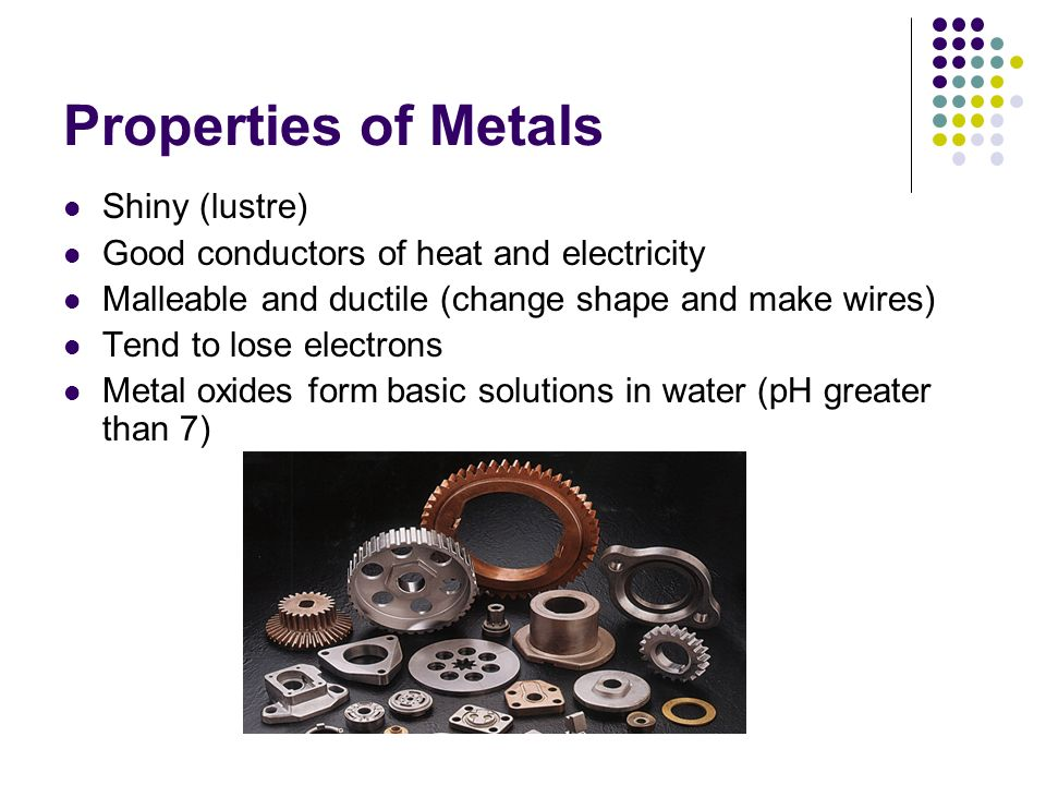 Properties of Metals Shiny (lustre)