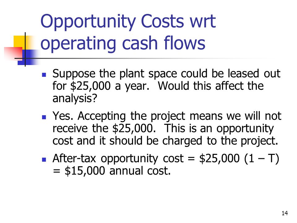 Opportunity Costs wrt operating cash flows