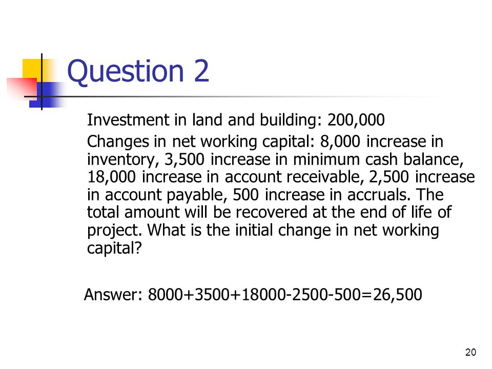 Question 2 Investment in land and building: 200,000