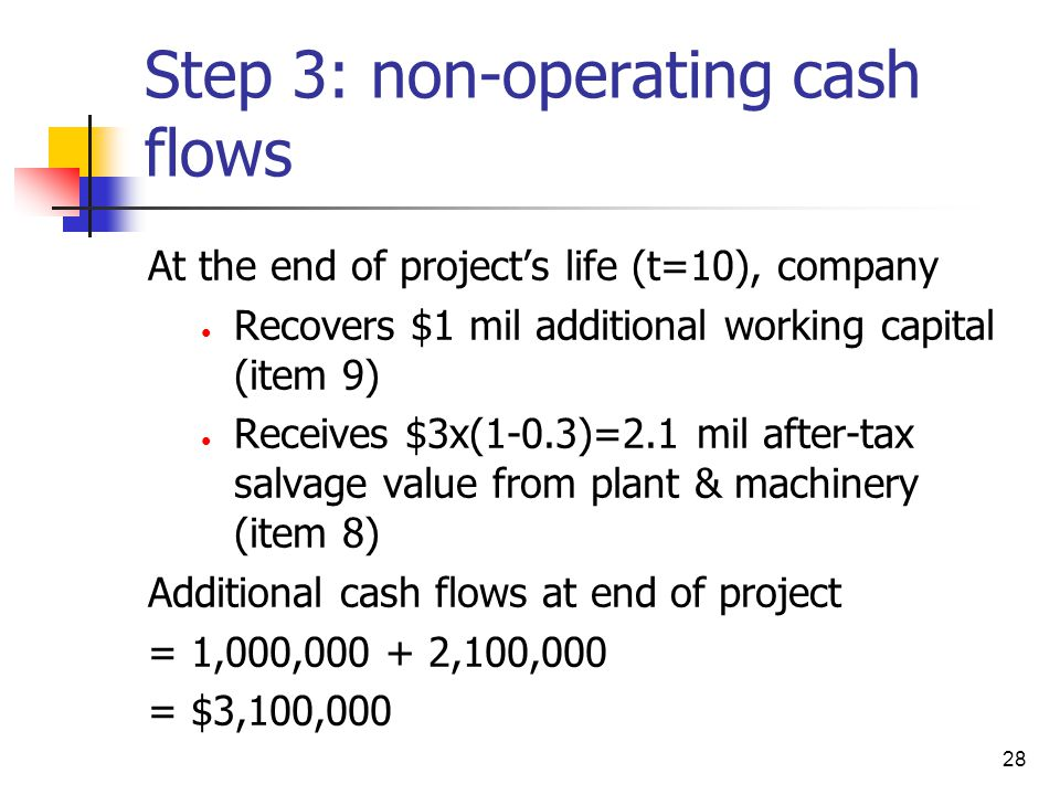 Step 3: non-operating cash flows