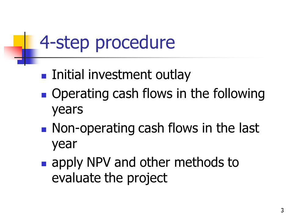 4-step procedure Initial investment outlay