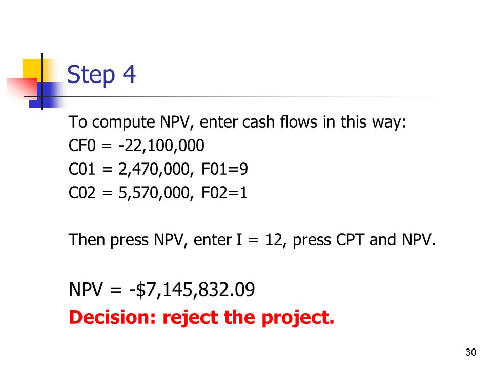 Step 4 NPV = -$7,145,832.09 Decision: reject the project.