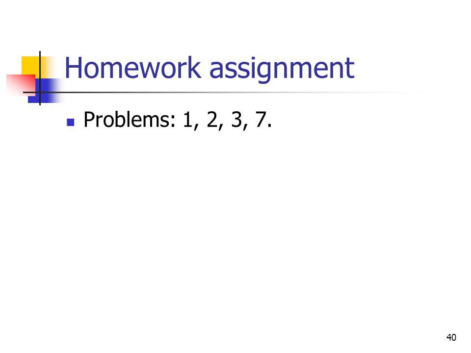 Homework assignment Problems: 1, 2, 3, 7.