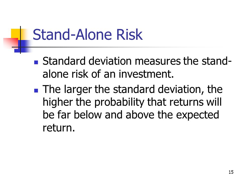 Stand-Alone Risk Standard deviation measures the stand-alone risk of an investment.